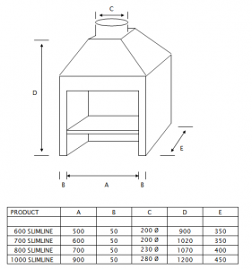 SPECIFICATIONS FOR SLIMLINE FIREPLACE