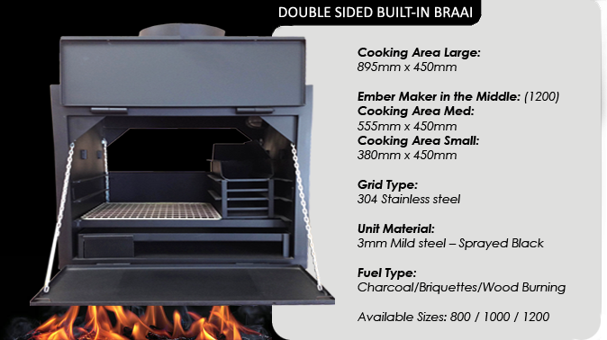 DOUBLE SIDED BUILT IN BRAAIS